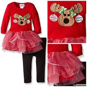 Christmas Tutu Dress Legging Set Holiday Outfit